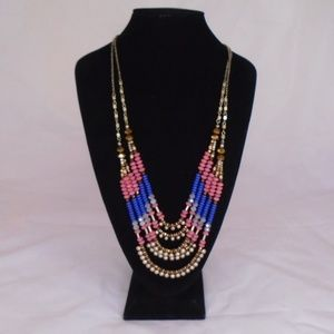 ANTHROPOLOGIE BEAD LAYERED STATEMENT LONG NECKLACE